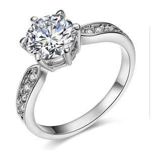 Jewelry - 18K white gold plated 1.5ct CZ ring